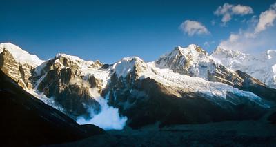 Kangchenjunga range at sunrise from Samiti view point.  Note the avalanche.
