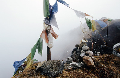 Prayer flags above Lam Pokhri