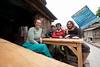 Having tea at the Sandhya Eating Corner