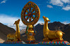 The Buddhist symbol of wheel and deer, on the roof of the Sakya Kaza monastery.