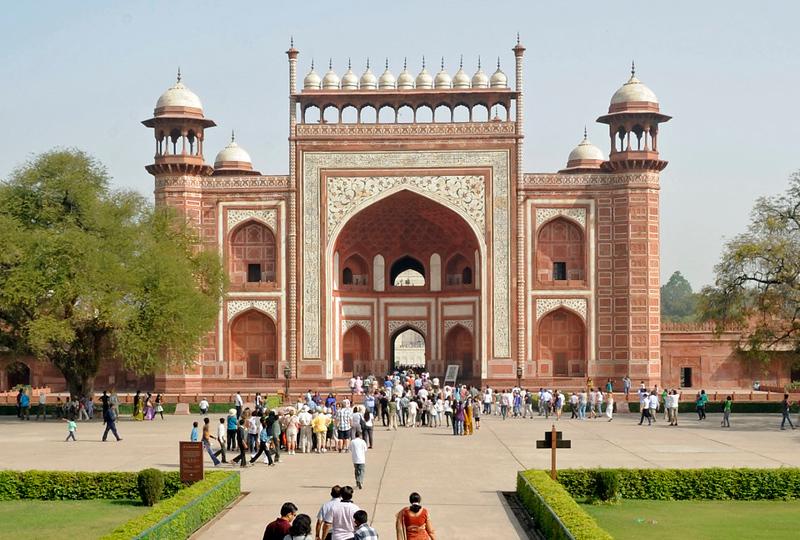 Taj Mahal main gateway, Agra, Sun 25 March 2012 1.  Looking north.  The Taj Mahal is beyond.