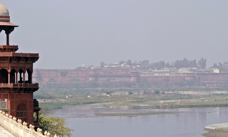 The Red Fort from the Taj Mahal, Agra, Sun 25 March 2012.