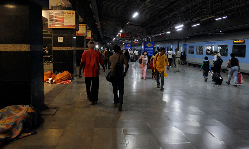 Hazrat Nizamuddin station, New Delhi, Sun 25 March 2012 - 0549.  Train 12002, the New Delhi - Bhopal Shatabdi via Agra stands at the platform.  There is a lot of rough sleeping on Indian stations.