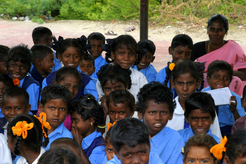 The school children of Dhanushkodi village and their teacher.