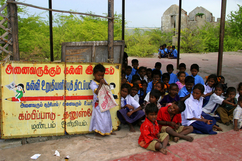The school children of Dhanushkodi village.
