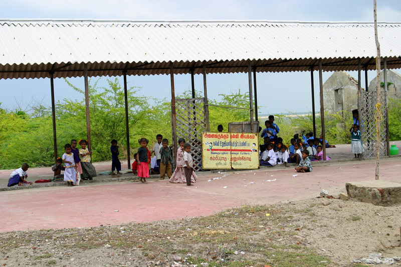 The children of Dhanushkodi village have only this open air school now...