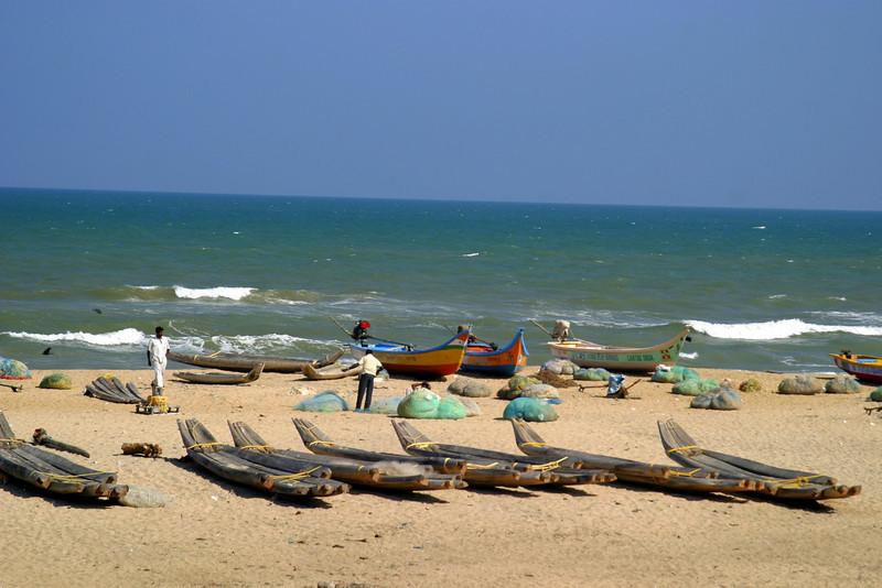 fishing boats, The beach by the shore temple in Mamallapuram