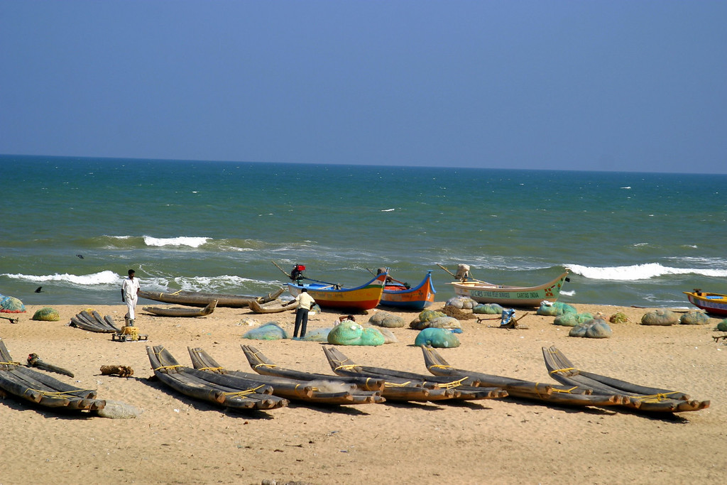 fishing boats, The beach by the shore temple in Mamallapuram