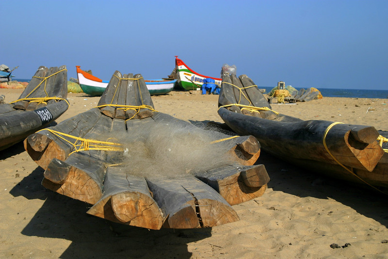 amazing old style boats. The beach by the shore temple in Mamallapuram