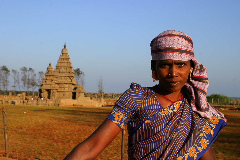 This lady was tending the grounds at the shore temple in Mamallapuram