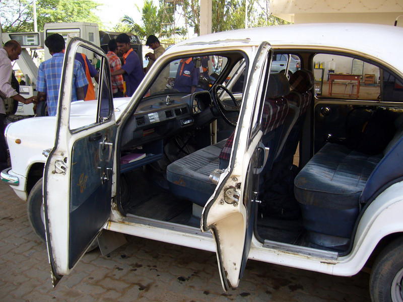 Inside a Hindustan Motors, Ambassador Taxi, made in Ladakh India.