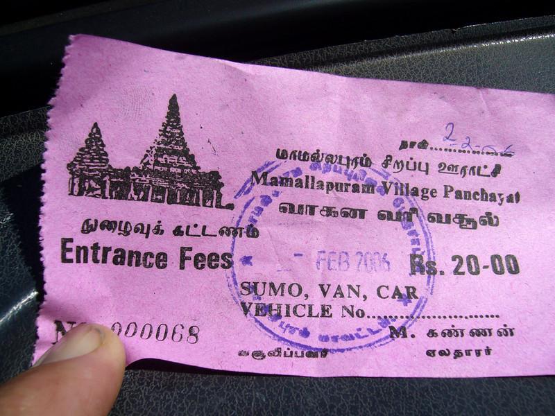 Entrance fee into Mamallapuram