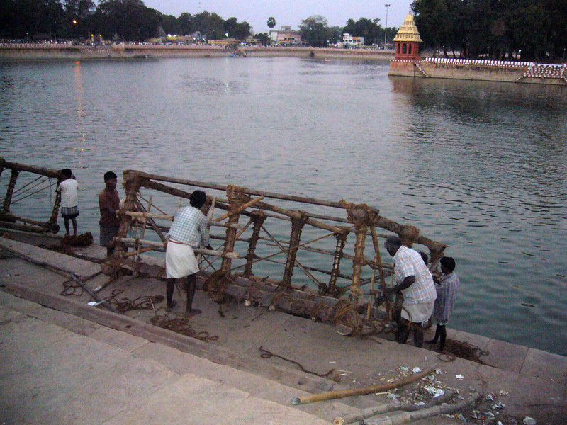 Building this raft for a ceremony. Maudrai, Tamil Nadu, India Meenakshi Temple