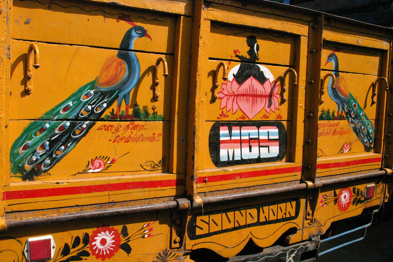 Manamadurai Junction, truck artwork Train from Manamadurai Junction  to Rameswaram, Tamil Nadu, India
