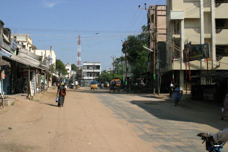 Manamadurai Junction, main street Train from Manamadurai Junction  to Rameswaram, Tamil Nadu, India
