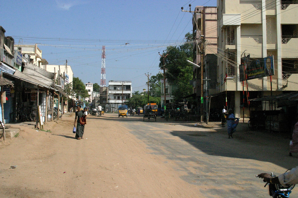 Manamadurai Junction, main street Train from Manamadurai Junction  to Rameswaram, Tamil Nadu, India
