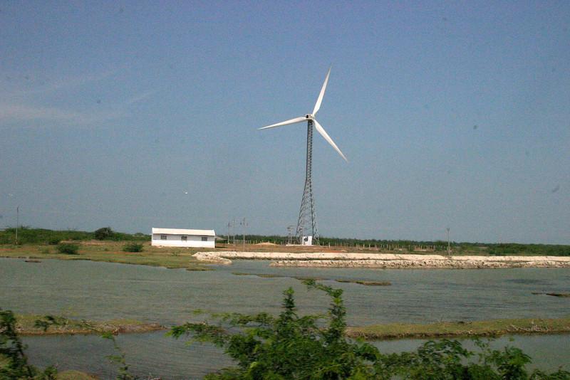 windmill near Rameswaram Train from Manamadurai Junction  to Rameswaram, Tamil Nadu, India
