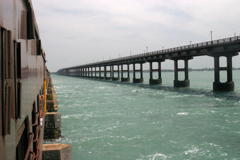 Pamban Viaduct crossing to Pamban Island and Rameswaram Train from Manamadurai Junction  to Rameswaram, Tamil Nadu, India