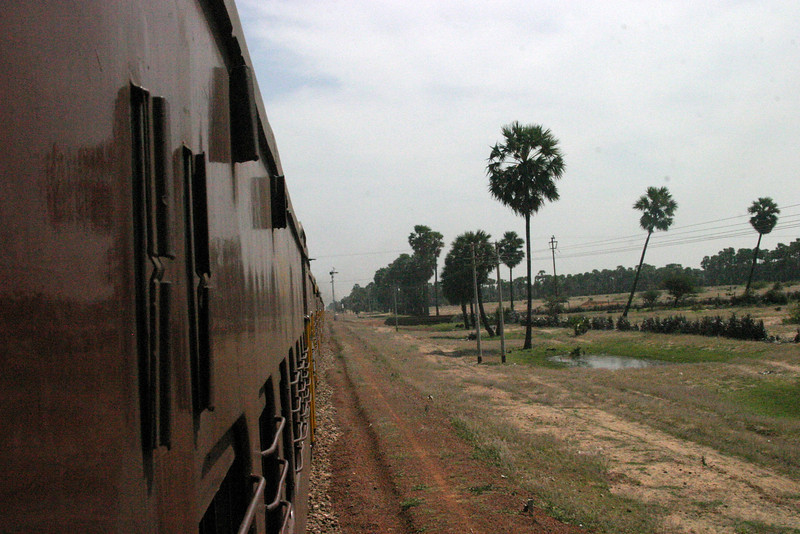 looking out from the Train to Rameswaram Train from Manamadurai Junction  to Rameswaram, Tamil Nadu, India