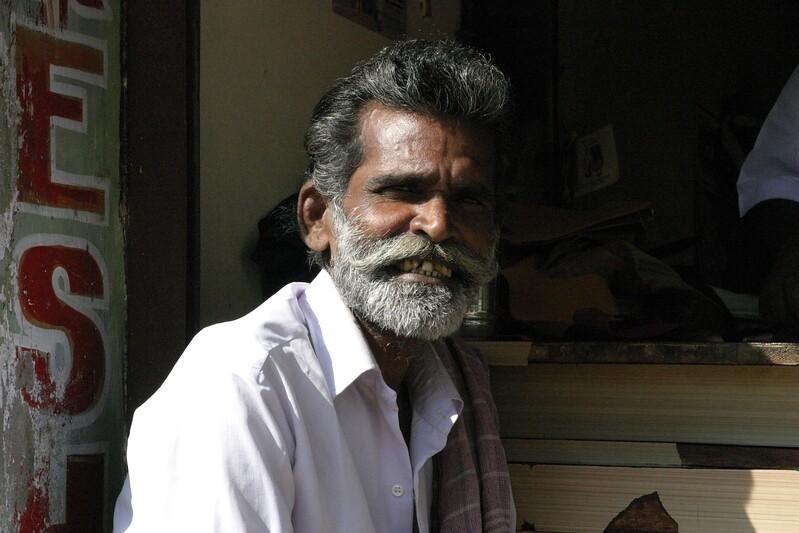 Manamadurai Junction, shop keeper. Train from Manamadurai Junction  to Rameswaram, Tamil Nadu, India