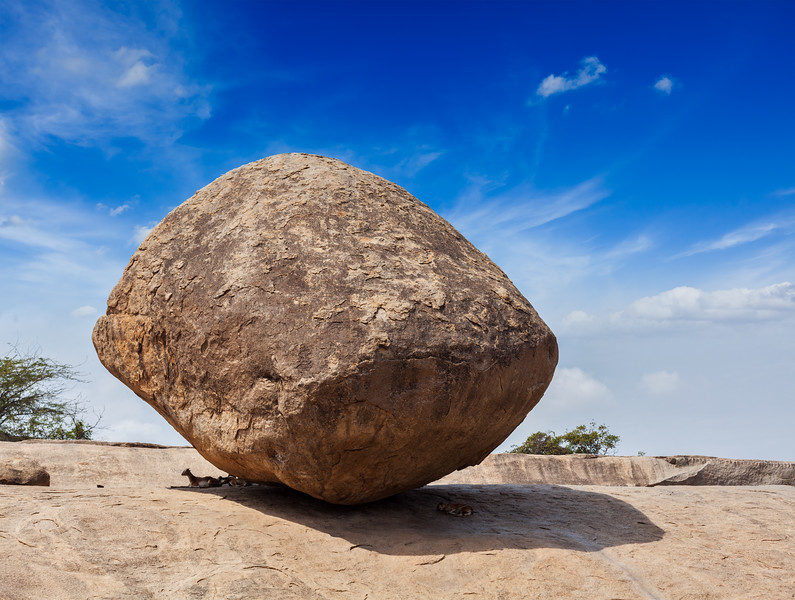 Krishna's butterball -  balancing giant natural rock stone, Mahabalipuram