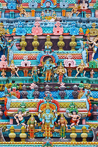 Bas reliefes on gopura (tower) of Hindu temple. Sri Ranganathaswamy Temple. Tiruchirappalli (Trichy), Tamil Nadu, India