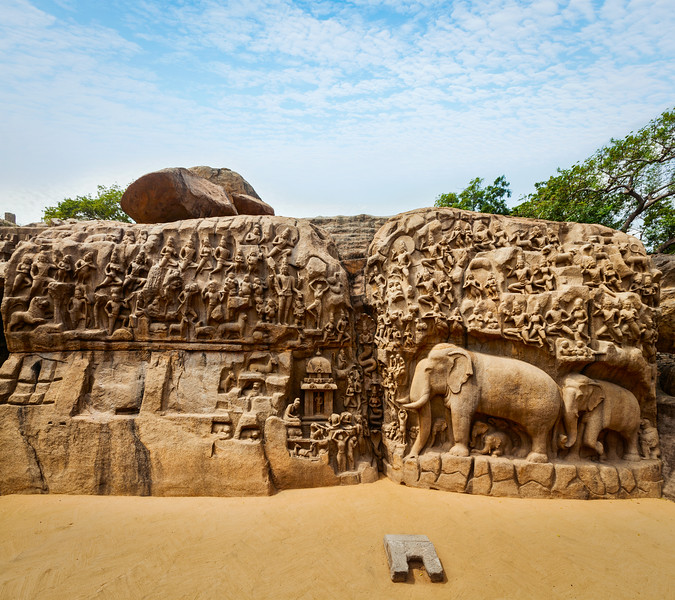 Descent of the Ganges and Arjuna's Penance, Mahabalipuram, Tamil Nadu, India