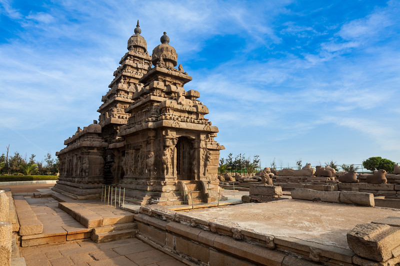Shore temple - World  heritage site in  Mahabalipuram, Tamil Nadu, India