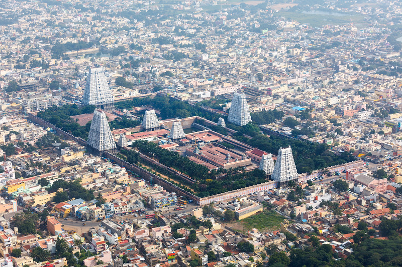 Hindu temple and indian city aerial view