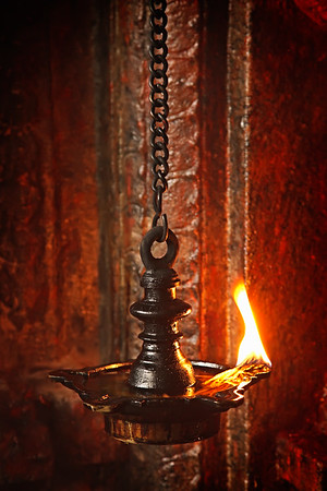 Burning lampion in Hindu temple