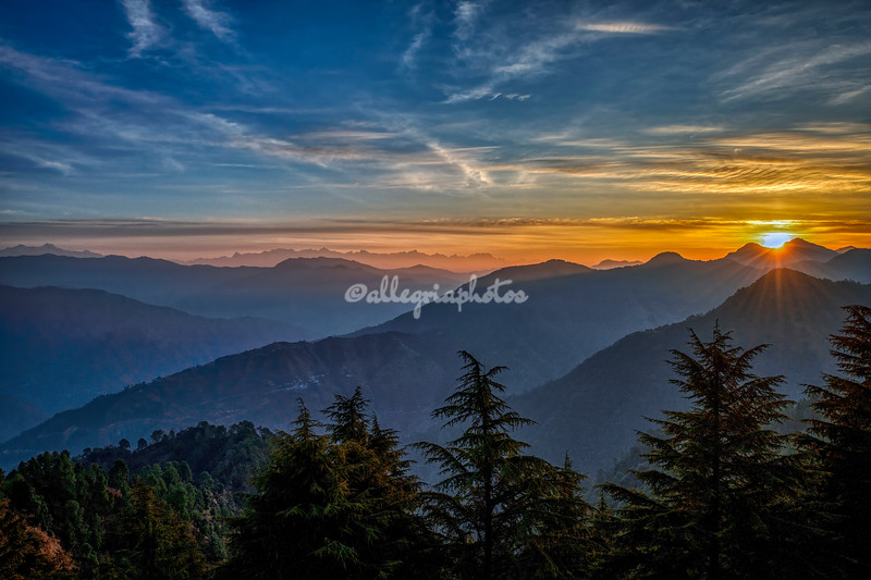 Sunrise over the Himalayas, from Mussoorie, Uttarakhand, India