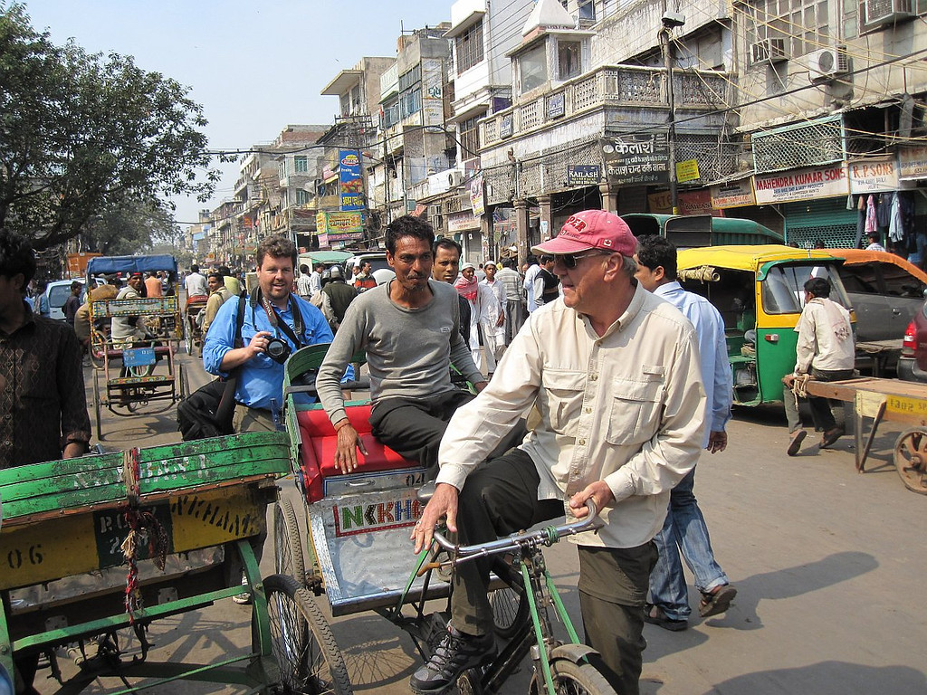 Spice market, New Delhi, taking over as the Rickshaw driver