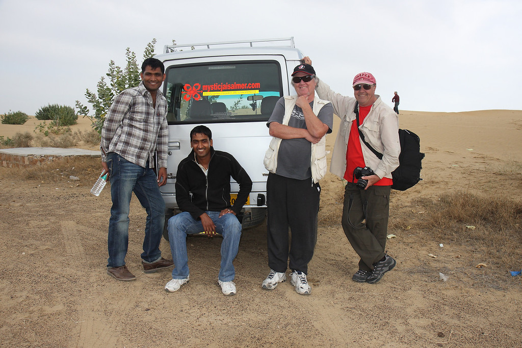 with Ashraf (left, owner of the Hotel Mystica) in the Thar desert about 1 hr west of Jasialmer