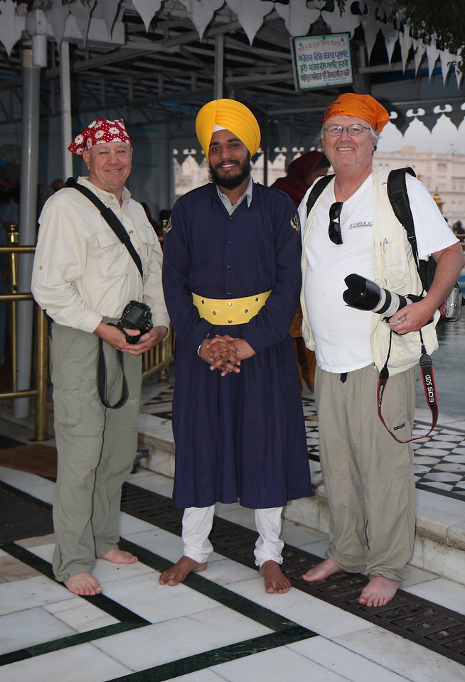 with John and guard, Shikh Golden Temple in Amritsar