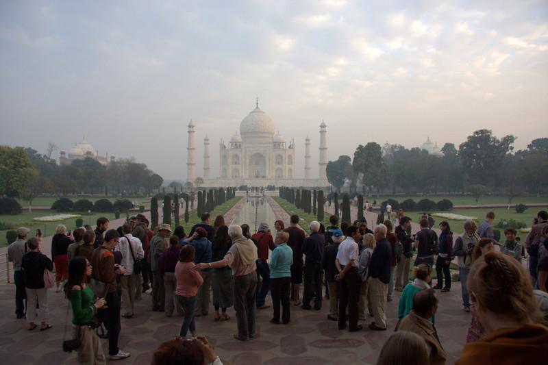 The Taj Mahal, just after 7AM and it's busy (March 2011). Agra, India, Taj Mahal, Uttar Pradesh