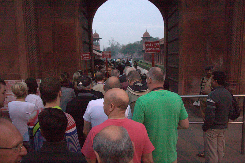 The East Gate Taj Mahal, (March 2011), before 7AM and it's busy already. Agra, India, Uttar Pradesh