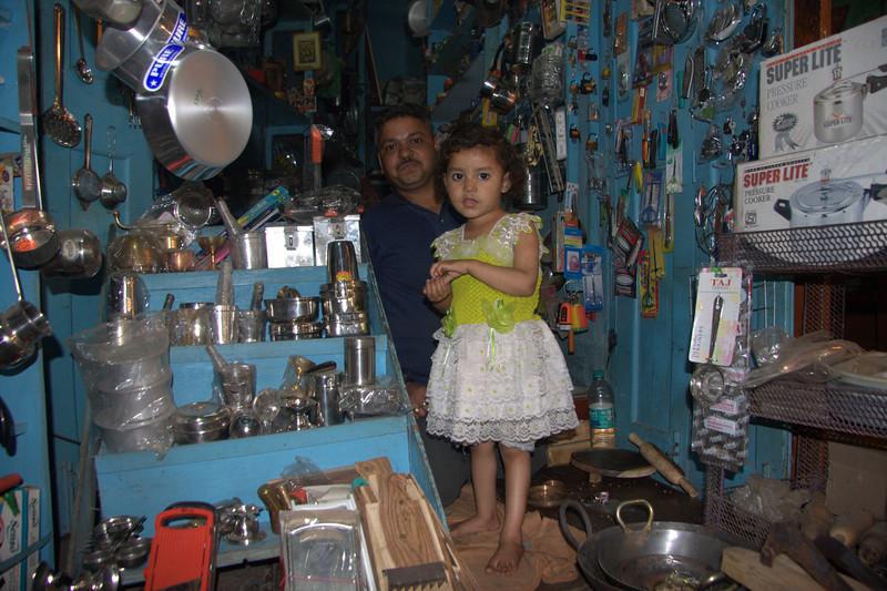 Varanasi little shop girl. March 2011