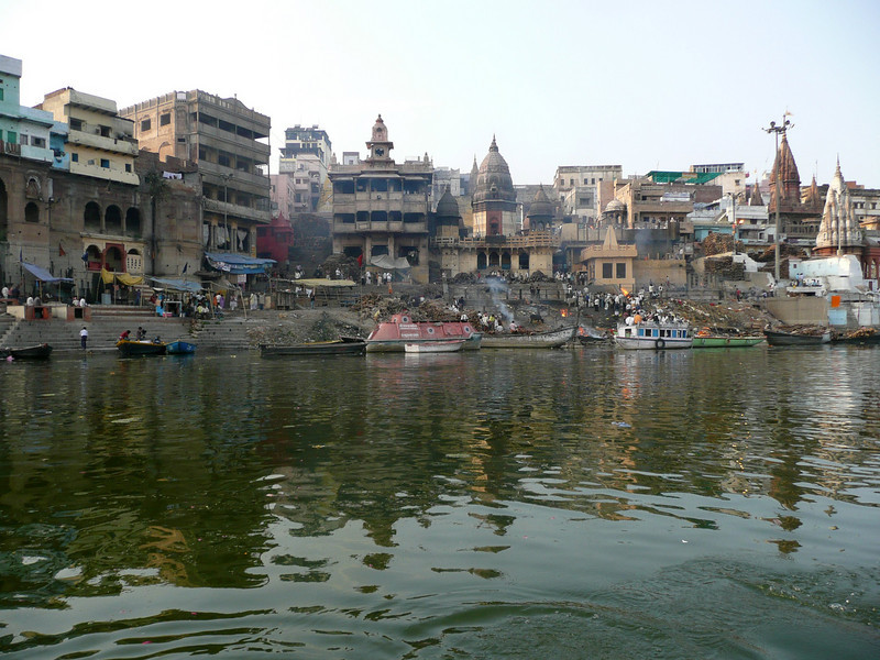 Varanasi on the Ganga (March 2011) at the Burning Ghat Varanasi is located on the Ganges, in Uttar Pradesh. Said to be the oldest existing city in the world.