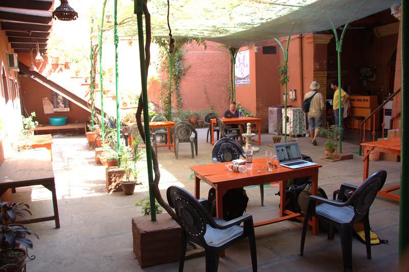 Downstairs at Ganpati Guest House at Meer Ghat Varanasi, reception, food, washrooms are here.