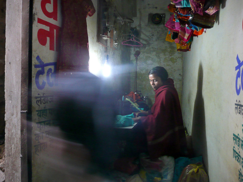 working late into the night, Varanasi  (March 2011)