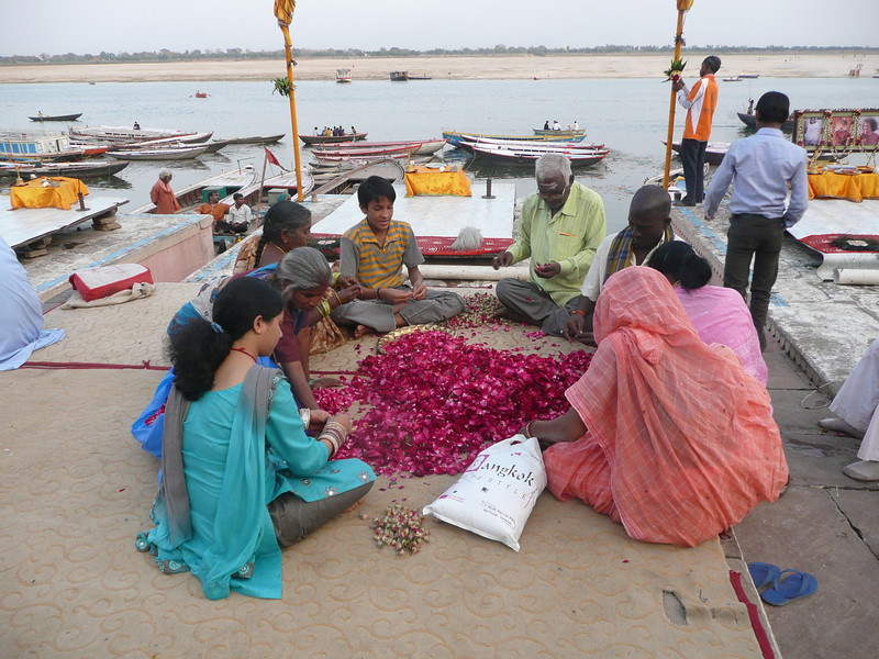 Varanasi on the Ganga (March 2011) A family threading the flowers Varanasi is located on the Ganges, in Uttar Pradesh. Said to be the oldest existing city in the world.