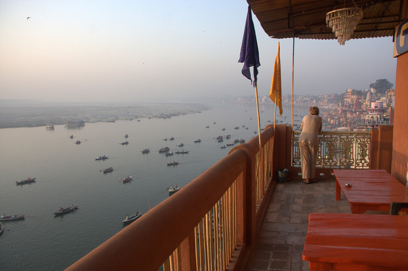 """View from Ganpati Guest House at Meer Ghat, Varanasi. <a href=""""http://www.ganpatiguesthouse.com"""">http://www.ganpatiguesthouse.com</a> Varanasi is located on the Ganges, in Uttar Pradesh. Said to be the oldest existing city in the world."""