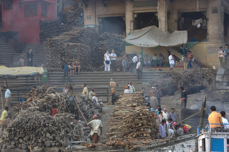 Varanasi on the Ganga (March 2011) at the Burning Ghat, pile and piles of wood. About 200Kg is needed for each Cremation. Varanasi is located on the Ganges, in Uttar Pradesh. Said to be the oldest existing city in the world.
