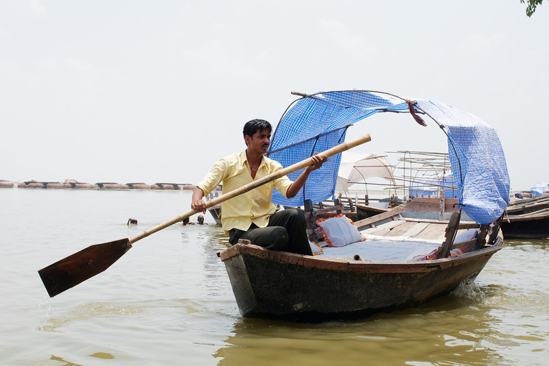 Boat taxis prying the banks of the river