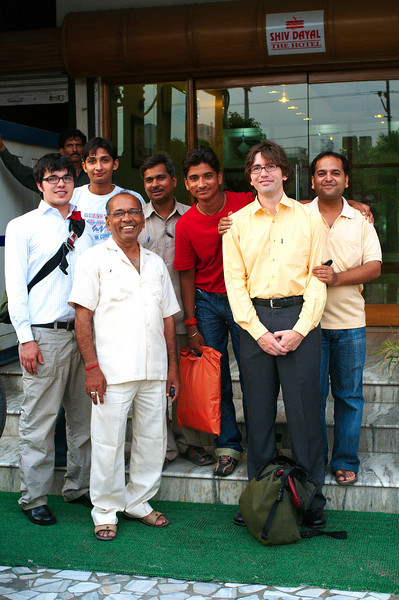 Outside the hotel before leaving for the Bajpai residence in Kalyanpur