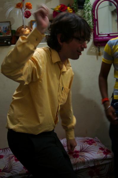 Yann practising his Indian dance moves