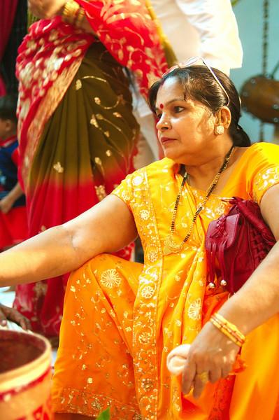 Jitendra's mother takes part in the Tilak ceremony