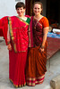 Antonia and Emilie all dressed up in their saris borrowed from Jitendra's mom
