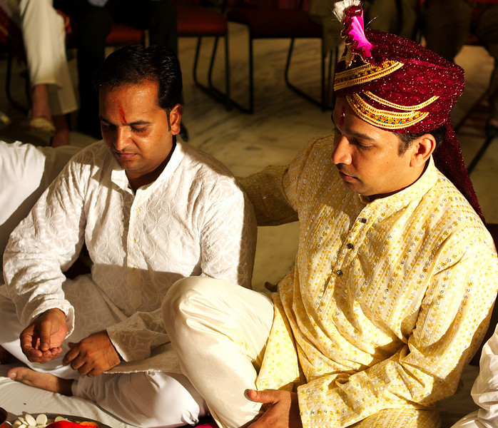 Jitendra with his brother Karmindra at the beginning of the ceremony