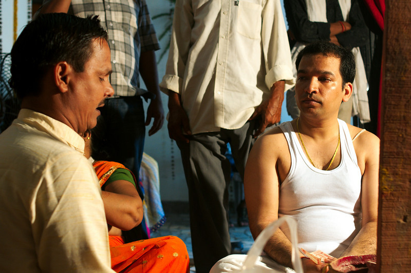 Jitendra listens intently to the pandit